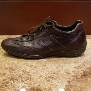 MEN'S BROWN LEATHER HOGAN SNEAKERS SHOES ITALY